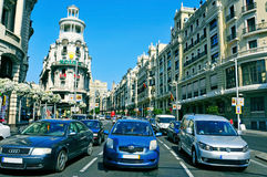 Gran via in Madrid, Spanje Stock Foto
