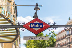 Gran Via Metro sign, Madrid, Spain. Gran Vía is a station on Lines 1 and 5 of the Madrid Metro located underneath the Gran Vía, in the Centro neighborhood Royalty Free Stock Photos