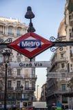 Gran Via metro station in Madrid. Gran Via metro station sign on street level in Madrid, Spain stock image