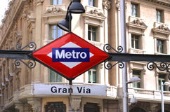 Gran Via Metro Station sign in Madrid. Royalty Free Stock Images