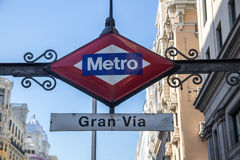 Gran Via metro station. Sign on street level in Madrid, Spain Royalty Free Stock Image