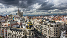 Gran Via Metropolis Madrid Spain. Panoramic view on Gran Via, the main shopping street in Madrid, Spain Royalty Free Stock Photography