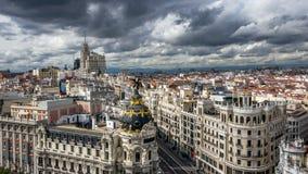 Gran via metropolisen Madrid Spanien Royaltyfri Fotografi