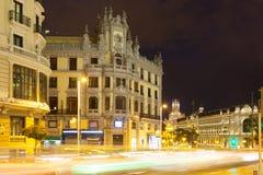 Gran Via in night. Madrid Stock Photos