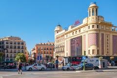 The Gran Via and Plaza Callao in Madrid on a summer day. MADRID,SPAIN - AUGUST 6, 2017 : Gran Via and Plaza Callao in Madrid, the most important shopping and Stock Photo