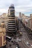 Gran via straat in Madrid stock foto's