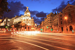 Gran via straat in Madrid, Spanje stock fotografie