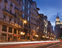 Gran via straat, Madrid, Spanje. Stock Foto