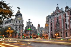 Gran Via street in Madrid Royalty Free Stock Photos