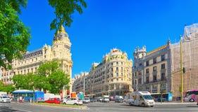 Gran Via Street in Madrid,at day time, traffic, car on Gran Via Stock Photo