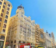 Gran Via Street in Madrid,at day time, traffic, car on Gran Via Royalty Free Stock Image