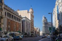 Gran Via street in Madrid. Famous Gran Via street in Madrid, Spain royalty free stock photography