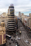 Gran Via street in Madrid. Famous Gran Via street view from above, in Madrid, Spain Stock Photos