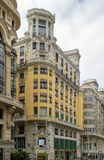 Gran Via street, Madrid. Gran Via (literally Great Way) is an ornate and upscale shopping street located in central Madrid, Spain stock images