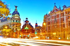 Gran Via street in Madrid, Spain Royalty Free Stock Photo