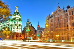 Gran Via street in Madrid, Spain Royalty Free Stock Photos