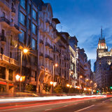 Gran via street, Madrid, Spain. Royalty Free Stock Photo