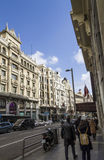 Gran Via Street Madrid, Spain Royalty Free Stock Photos
