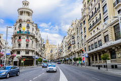 Gran via street in Madrid, Spain Stock Images