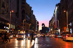 Gran Via street at night Stock Photography