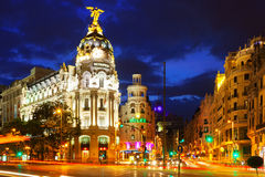Gran Via street in night. Madrid, Spain. Royalty Free Stock Photos