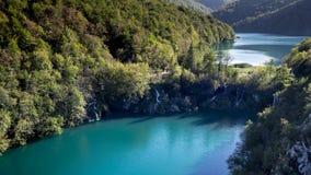 Gran visión desde una montaña sobre una parte del parque nacional de Plitvice fotografía de archivo