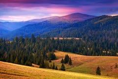 Gran vista de montañas cárpatas en el tiempo de la puesta del sol Foto de archivo libre de regalías