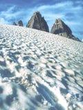 Gran vista del macizo alpino de Tre Cime di Lavaredo fotografía de archivo