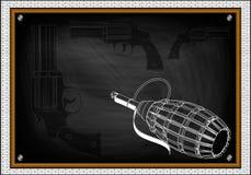 Granaat en drie pistolen op een wit royalty-vrije illustratie