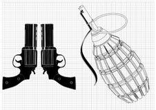Granaat en twee pistolen op een wit stock illustratie