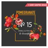 Granaatappel, Bloemen en Bladeren Exotische Tropische Banner stock illustratie