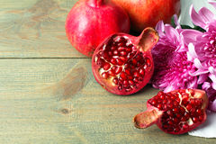 granaatappel en Chrysant Royalty-vrije Stock Afbeeldingen