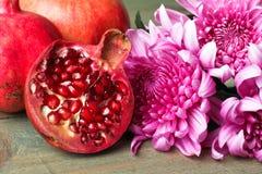 granaatappel en Chrysant Stock Fotografie