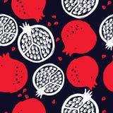 Granaatappel Vector naadloos patroon Hand getrokken elementen Textiel, behangontwerp vector illustratie