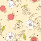 Granaatappelpatroon met bloem Stock Fotografie
