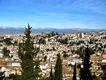 Granada 04. A view of Granada, Spain with the Sierra Nevada mountains in the background Royalty Free Stock Image