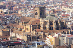 Granada. In Andalusia region of Spain. Aerial view of cathedral Stock Photography