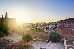 Granada al tramonto, Spagna Fotografia Stock Libera da Diritti