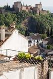 Granada - Albaicin Albaizyn and Alhambra, Spain. Castle on hillside in Granada - Albaicin Albaizyn and Alhambra, Spain on sunny day stock image