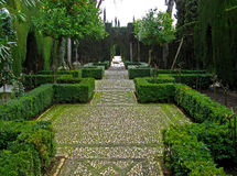 Granada, Alhambra 10. The gardens of the great Moorish Alhambra Palace overlooking Granada, Spain Stock Images