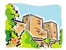 Granada (Alhambra). Llustration of the walls of the citadel of the Alhambra at Granada stock illustration