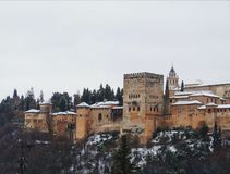 Granada. Alhambra with snow Royalty Free Stock Photography