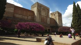 Granada, Andalucia, Spain - April 17, 2016: Alhambra fortress walls and tree with peach blossoms