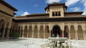 Granada, Andalucia, Spain - April 17, 2016: Alhambra palace and fortress complex located in Granada stock video footage