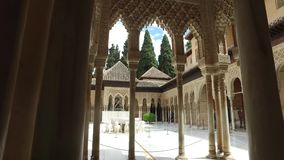 Granada, Andalucia, Spain - April 17, 2016: Alhambra palace and fortress complex located in Granada stock footage