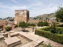 GRANADA ANDALUCIA/SPAIN - MAJ 7: Del av Alhambra Palace Fotografering för Bildbyråer