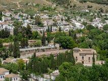 GRANADA ANDALUCIA/SPAIN - MAJ 7: Sikt av Granada i Andalucia Arkivfoto