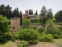 GRANADA ANDALUCIA/SPAIN - MAJ 7: Sikt från Alhambra Palace Arkivfoton