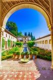 Granada, Andalusia, Hiszpania: Podwórze Alhambra zdjęcie royalty free