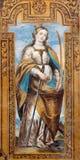 Granada - The baroque fresco of early christian martyr Saint Catharine of Alexandria Stock Images